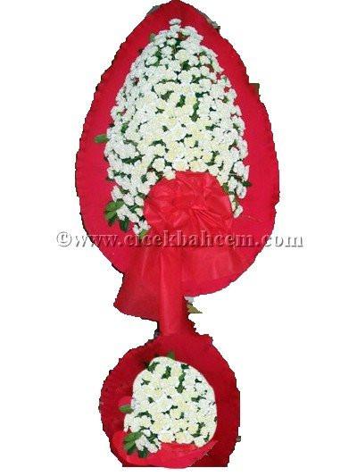 Ayaklı Sepet Beyaz Karanfile Kırmızı Fonda Tasarlanmış Düğün, Nikah ve Açılış Sepeti SE121