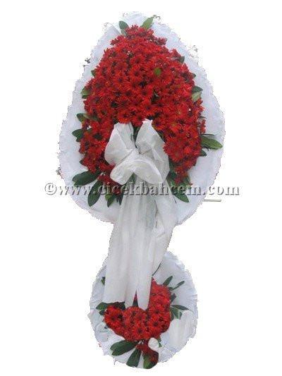 Ayaklı Sepet : Beyaz fonda Kırmızı Gerbera Tasarımı Düğün, Nikah ve Açılış Sepeti