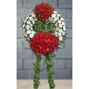 Kırmızı ve Beyaz Gerbera'dan Cenaze Merasim Çiçekleri