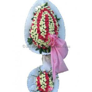 Ayaklı Sepet :Beyaz Karanfil ve Pembe Gerbera İle Tasarlanmış Düğün, Nikah ve Açılış Sepeti
