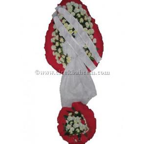 Ayaklı Sepet :Kırmızı Fonda Beyaz Karanfil Tasarlanmış Düğün, Nikah ve Açılış Sepeti