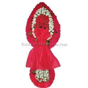 Ayaklı Sepet : Beyaz, Kırmızı Karanfil Çiçekleri İle Tasarlanmış Düğün, Nikah ve Açılış Sepeti