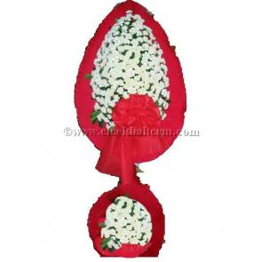 Ayaklı Sepet Beyaz Karanfile Kırmızı Fonda Tasarlanmış Düğün, Nikah ve Açılış Sepeti