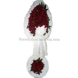Ayaklı Sepet: Beyaz Fonda Bordo Karanfil Tasarlanmış Düğün, Nikah ve Açılış Sepeti